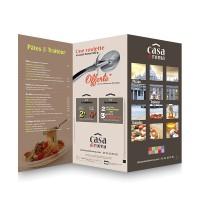 Prospectus pizza - Maquette Italie2 - Dépliants 30x42 ouvert 2 plis roulés 135g couché brillant